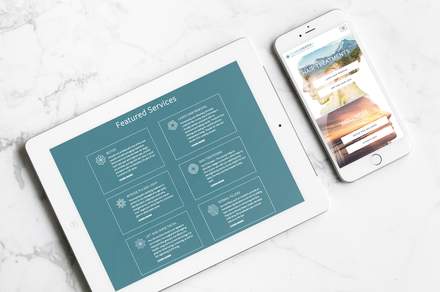 claraderma website design